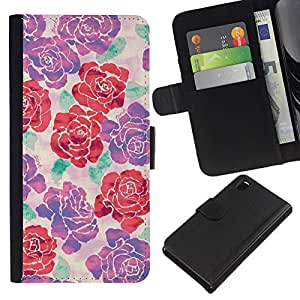 KLONGSHOP // Tirón de la caja Cartera de cuero con ranuras para tarjetas - Modelo púrpura primavera floral rojo - Sony Xperia Z3 D6603 //