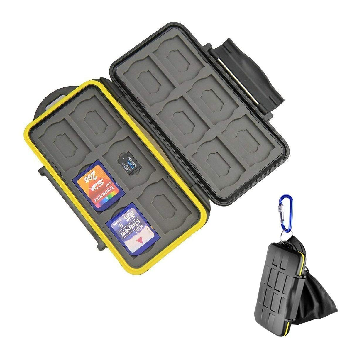 Beeway® Tough Water Shock Resistant Protector Memory Card Carrying Case Holder 24 Slots for SD SDHC SDXC and Micro SD TF with Storage Bag & Carabiner product image