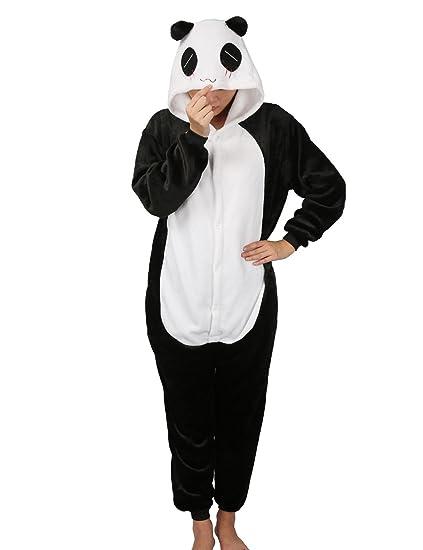 Luojida Pijama Animal Cosplay Disfraz con Capucha Unisex para Adultos Ropa de Dormir Entero Cálido para Festival de Carnaval Halloween Navidad (Panda, ...
