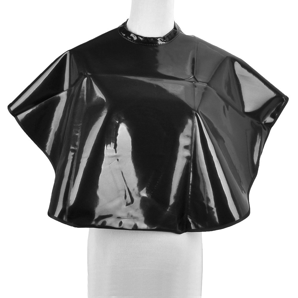 JS Direct PVC Waterproof Hair Salon Cape with Snap Closure - Black