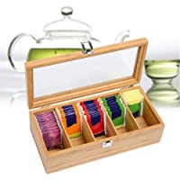LMAPYH Bamboo System Tea Bag Jewelry Organizer Storage Box 5 Compartments Tea Box Organizer Wood Sugar Packet Container