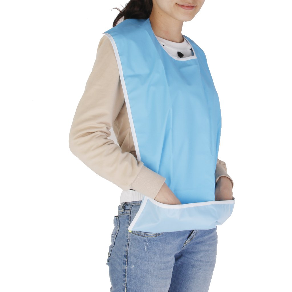 Blue as described MagiDeal Large Adult Mealtime Bib Cloth Protector Eldery Disability Aid Eating Cooking Apron Washable