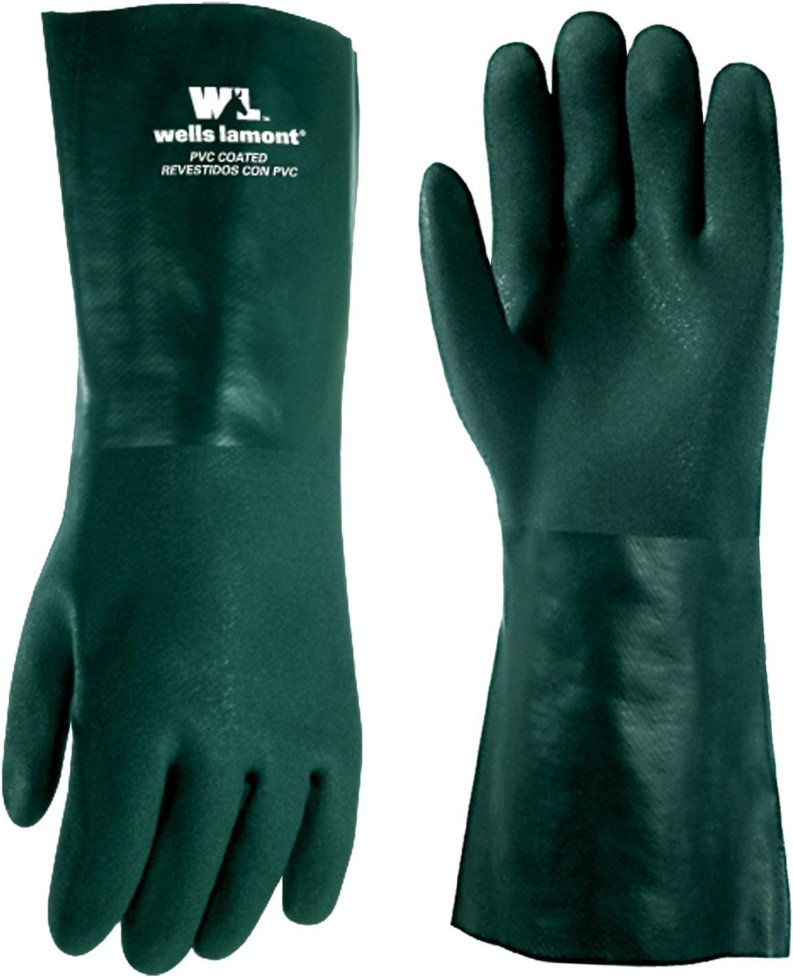 Heavy Duty PVC Chemical Gloves, One Size (Wells Lamont 167L) - Work Gloves -