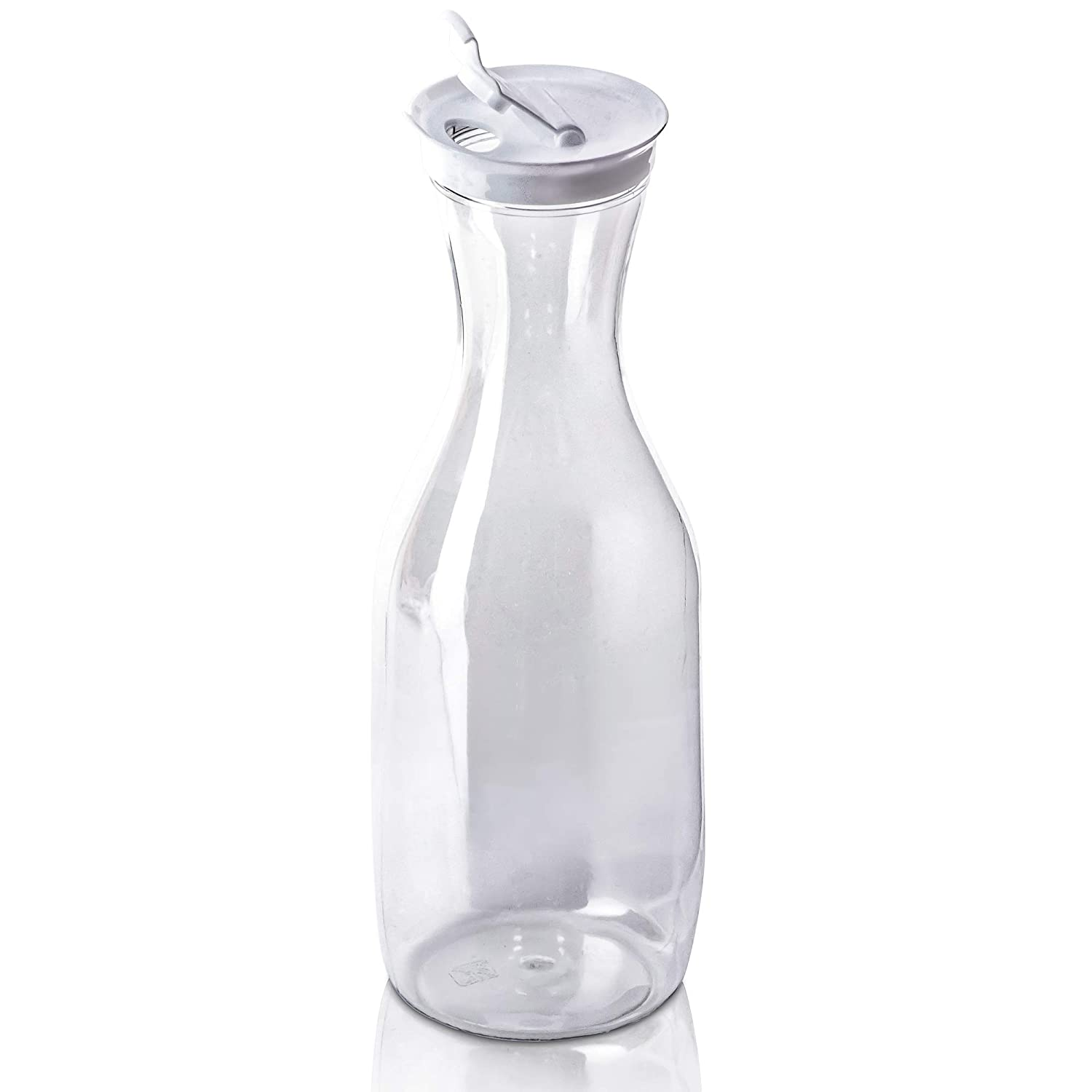 DecorRack Large Water Carafes, Bottle with Flip Top Lid, 50 Oz -BPA Free- Plastic Juice Pitcher, Decanter, Jug, Serve Fridge Cold Iced Tea, Water, for Outdoors, Picnic, Parties, Clear (1 Pack)