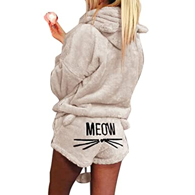 59cd8282a Women Fashion Cute Long Sleeve Pajamas Hoodie Sets Cat Embroidered Two  Pieces Sleepwear Shorts: Amazon.co.uk: Clothing