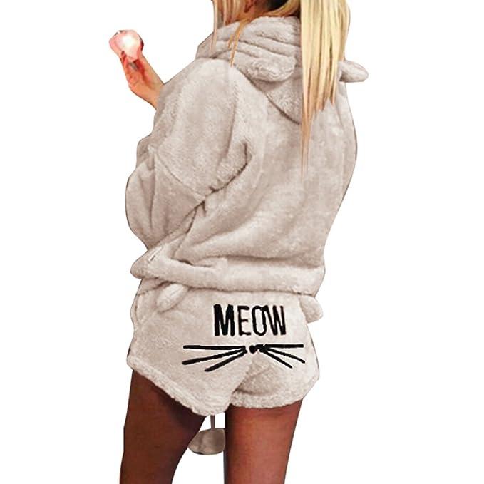 Yying Moda Mujer Damas Suave y cálida Sudadera con Capucha de Manga Larga + Pantalones Cortos