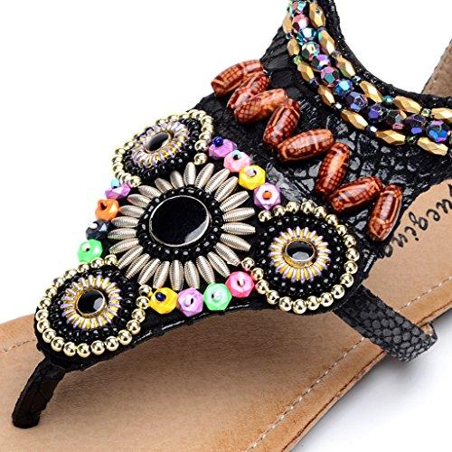 Sandales Clip Perles Boheme orteil 760 Strass Noir Femme Odema Plat qPHZYY