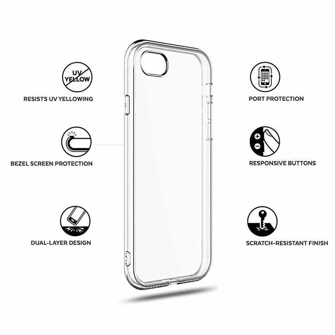 IPhone 7 plus case IPhone 8 plus case Slim crystal clear silicone cover Transparent Premium TPU Soft Rubber Silicone Durable shock Bumper waterproof protective [Support Wireless Charging]