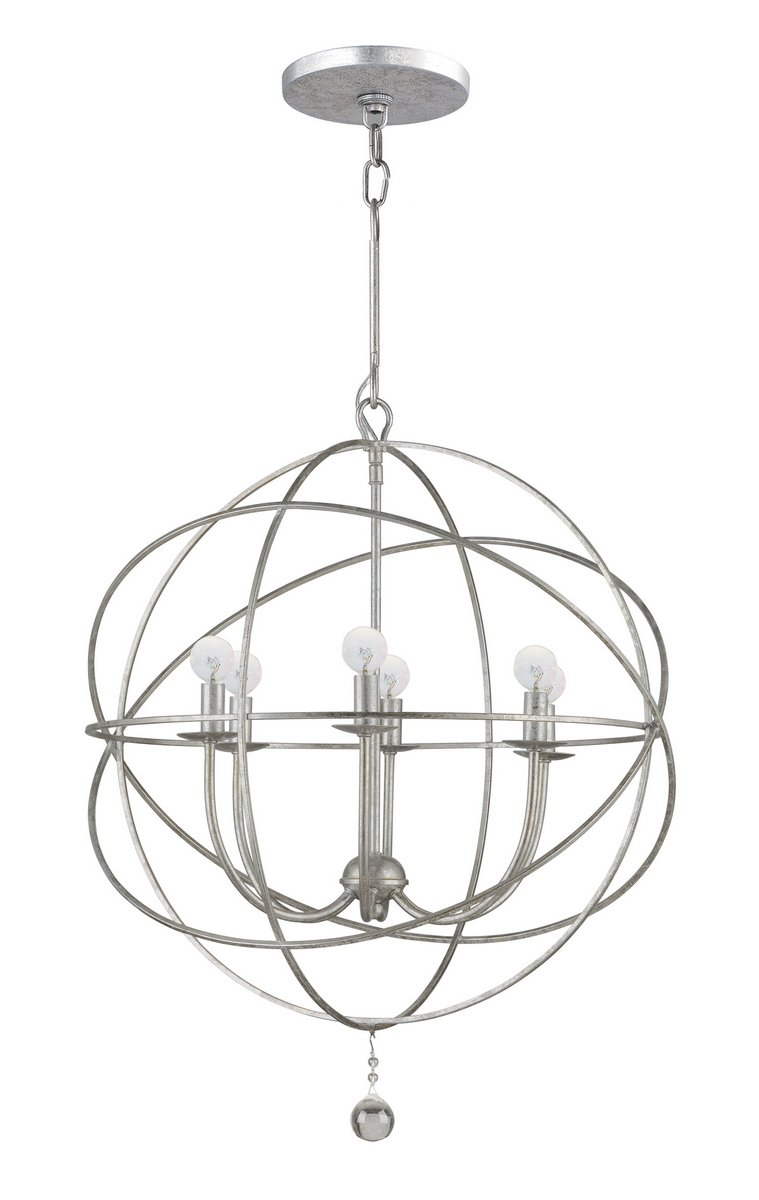 Solaris 6 Light Silver Sphere Chandelier - Six Light Chandeliers from the Solaris collection Height: 27.50 inches Width: 22.00 inches Number of Lights: 6, Bulb(s) Included: No - kitchen-dining-room-decor, kitchen-dining-room, chandeliers-lighting - 61VJzDROkJL -