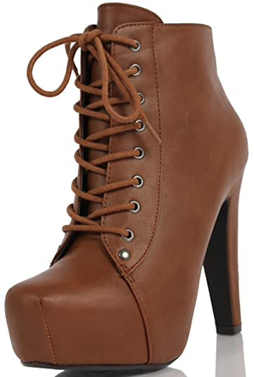 Women's Scala Faux Leather Lace Up High Heel Ankle Bootie