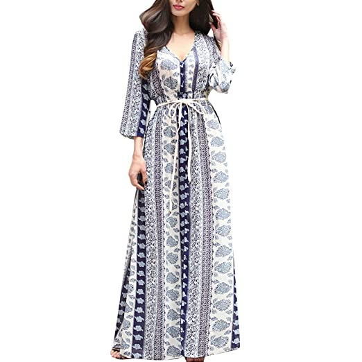 6d792d52942 Howstar Women s Floral Printed Boho Long Dress Long Sleeve Maxi Dresses  with Belt Evening Party Slit