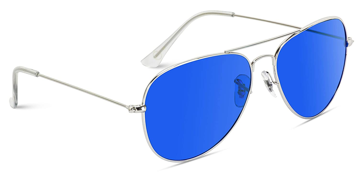 Classic Aviator Style Metal Frame Sunglasses Colored Lens