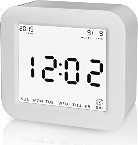 Ledgo Battery Operated Digital Alarm Clock, Simple Rotation to Change Each Function,4 Sided Clock with Time,Alarm,Timer,Temperature Function, for Kids,Heavy Sleepers,Bedroom and Travel, White