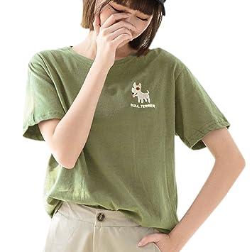 ab5aee6803e2 Masterein Women Animal Dog Embroidery Tees Summer Cotton T Shirt Cartoon O  Neck Top green L