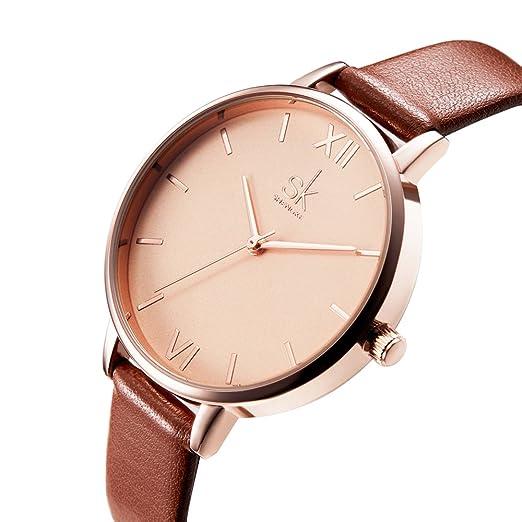 SK Women Watches Leather Band Luxury Quartz Watches Girls Ladies Wristwatch (Brown)