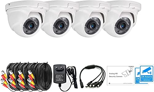 LONNKY 4-Pack 1080P TVI Analog Dome Cameras Kit Including Power Supply, Splitter and Video Power Extension Cable , 3.6mm Lens 80ft Night Vision HD CCTV Waterproof Security System