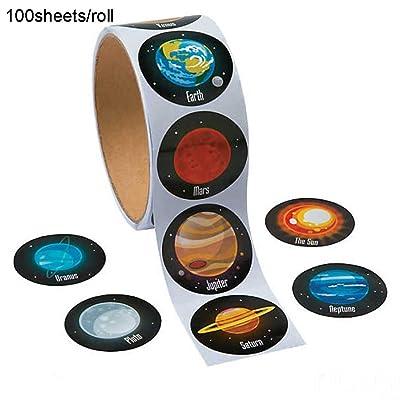 100 PCS / Roll Pegatinas creativas del sistema solar Pegatina realista del planeta Espacio autoadhesivo Pegatinas artesanales Pegatinas temáticas espaciales Papelería escolar Favor fiesta para niños: Juguetes y juegos