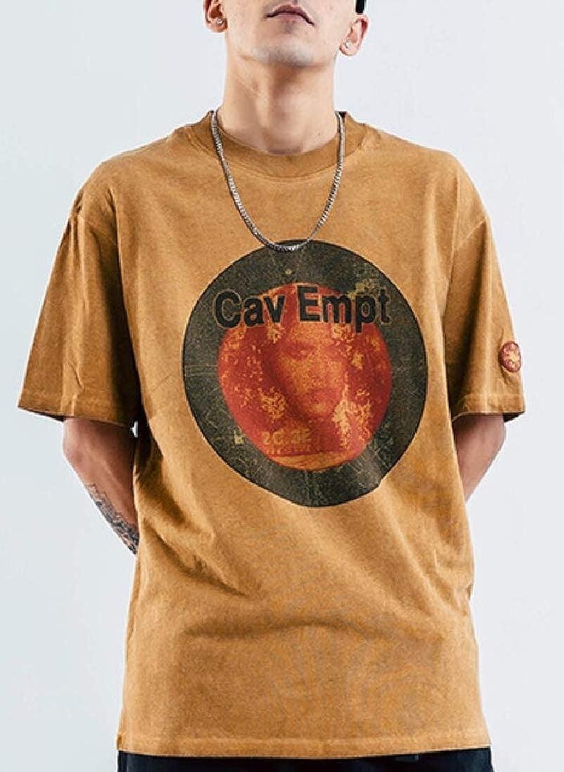 Mens Hipster Hip Hop Print Short Sleeve Pullover T Shirt Top