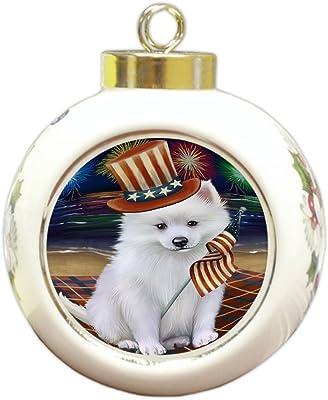 4th of July Firework American Eskimo Dog Round Ball Christmas Ornament RBPOR48158