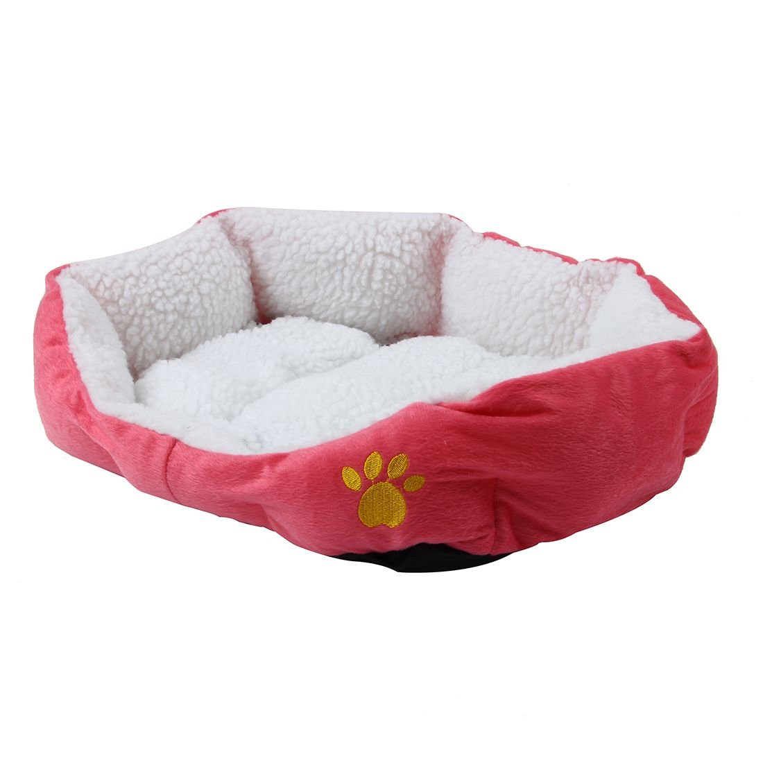 SODIAL(R)BASKET BASKET NICHE CUSHION MATTRESS BED DOG CAT ANIMAL46*42*15cm Small Size Rose