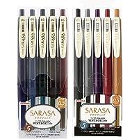 Zebra Sarasa Clip 0.5 Retractable Gel Ink Pen, Rubber Grip, 0.5 mm, Vintage Colors, 10 Color Bundle (JJ15-5C-VI2+JJ15-5C…