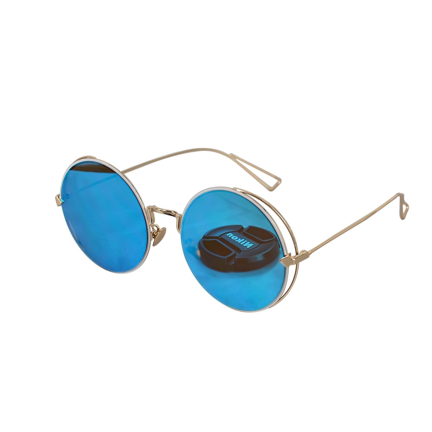 Ucspai Arrow Round Frame Sunglasses in Blue Reflective Lens