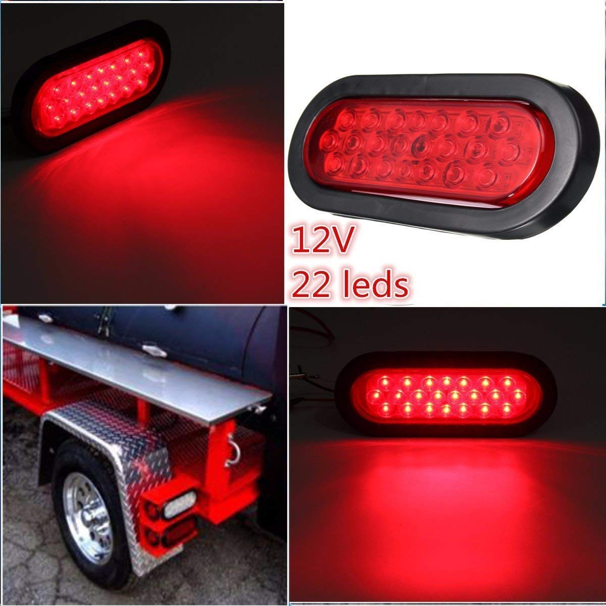 Ambother 6 22 Led Oval Trailer Lights Stop Turn Also Tail Along With Wiring Signal Brake Marker Light Flush Mount For Truck Trail Bus 12v Red Pack Of