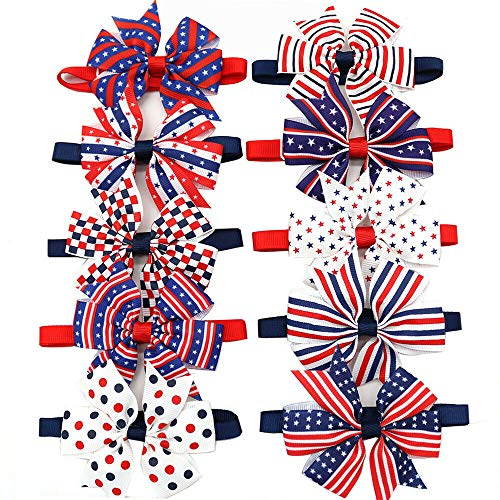 Neckties Accessories Dog - Masue Pets 10pcs/Pack 4th of July Collection Dog Bow Ties Pinwheel American Flag Small Cat Dog Ties Puppy Dog Neckties Bow Ties Cat Dog Ties Dog Collar Dog Accessories