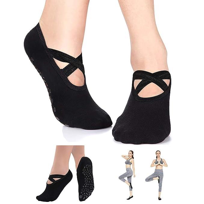 Amazon.com: Calcetines de yoga para mujer, antideslizantes ...