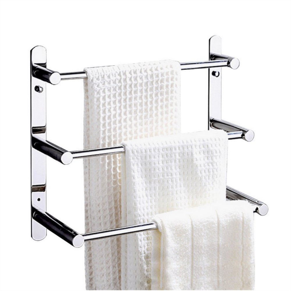 YUTU TY52 3 Tiers Stainless Steel Thickened Towel Rack Towel Bars 19.6-inch Wall Mounted Polished Chrome Bathroom Shelf Holder YUTU Home Improvement Company