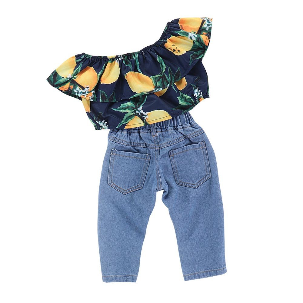 8017af5d85 Vovotrade® 2Pcs Toddler Bambini Neonati Abbigliamento Set Lemon Print Top + Hole  Jeans Pantaloni Outfit: Amazon.it: Abbigliamento