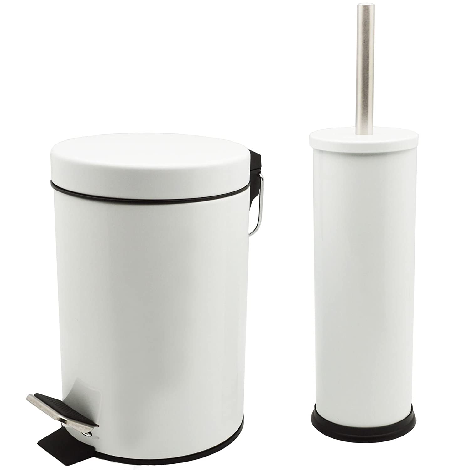 Harbour Housewares Bathroom Pedal Bin and Toilet Brush Set - 3 Litre Bin - White Finish