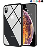 Ztotop Clear Hybrid Case for iPhone XS 5.8-Inch 2018, Thin Tempered Glass Transparent Back Cover and Slim Silicone Rubber Bumper Frame Compatible Apple iPhone XS/iPhone X - Matte Black Frame