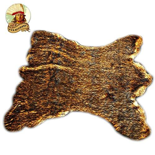 Golden Brown Alaskan Kodiak Bear Skin Throw Rug Premium Quality Fur Accents Faux Fur Pelt Rug/Americana Collection/Designer Throw Carpet/Wolf / -