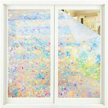 JTMM Pellicola Privacy per vetri Decalcomanie per finestre 3D Adesivi per finestre Pellicola per vetri Arcobaleno per Porta in Vetro Controllo Adesivi per finestre Arcobaleno 45X200 cm