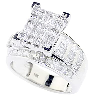 Princess Cut Diamond Wedding Ring 3 In 1 Engagement Bands 10K White Gold Real 2cttw
