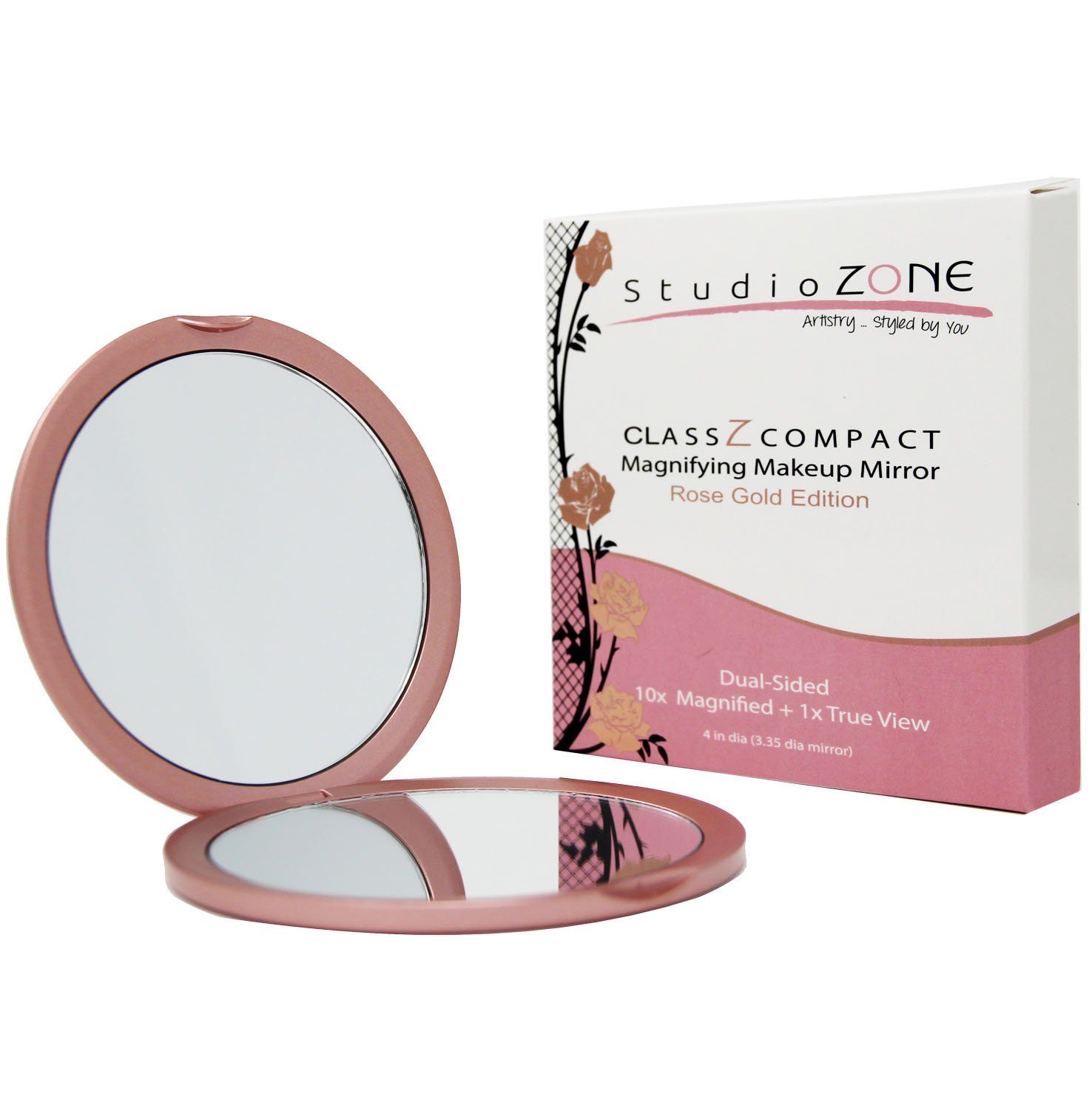 COMPACT MIRROR - 10X MAGNIFYING MakeUp Mirror - Perfect for Purses - Travel - 2-sided with 10X Magnifying Mirror and 1x Mirror - ClassZ Compact Mirror - Rose Gold Edition