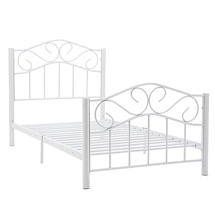 Amazon.com: Mecor Metal Bed Frame Cry Finial Headboard Footboard ...