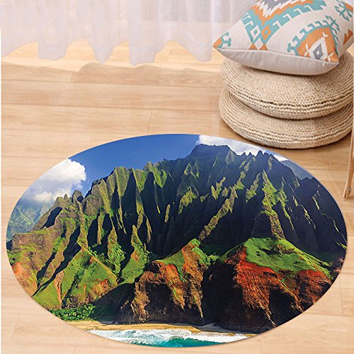 VROSELV Custom carpetHawaiian Decorations Aerial View of Na Pali Coast Kauai Hawaii Mountain Cliff Seacoast Scenic Photo Bedroom Living Room Dorm Decor Green Brown Round 79 inches by VROSELV
