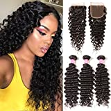 Donmily 7A Brazilian Deep Wave 3 Bundles with Closure 100% Unprocessed Brazilian Deep Curly Virgin Human Hair Weave with Free Part Lace Closure Natural Color (12 14 16+12inch) Review