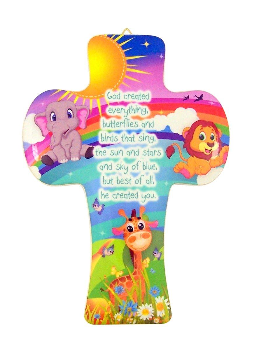 Animals of God Rainbow Jungle Wooden Wall Cross for Baby Nursery, 5 1/2 Inch