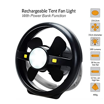 KOLSOL C&ing Tent USB Fan Light 10 LED Rechargeable Lantern Portable Bright L& Power Bank Function  sc 1 st  Amazon.com : rechargeable tent fan - memphite.com