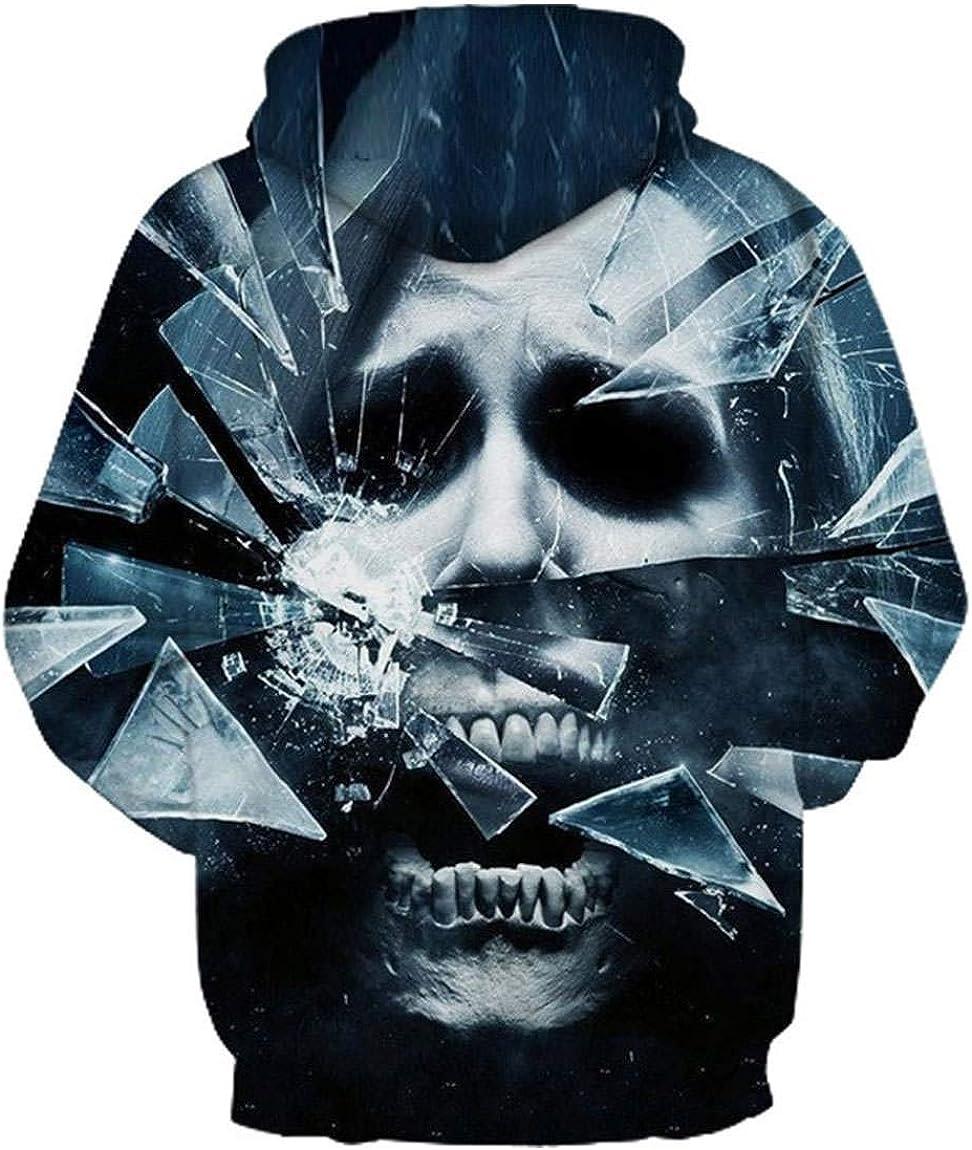 GGmar Halloween Hip Hop Skull Hoodie Casual Pullover Sweatshirt