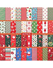 40 Pieces Christmas Cotton Fabric Quilting Fabric Squares Fat Quarters Precut Sewing Fabric Patchwork Christmas Tree Snowflake Printed Fabric Scraps for Dress Apron Crafts, 10 x 10 Inch/ 25 x 25 cm