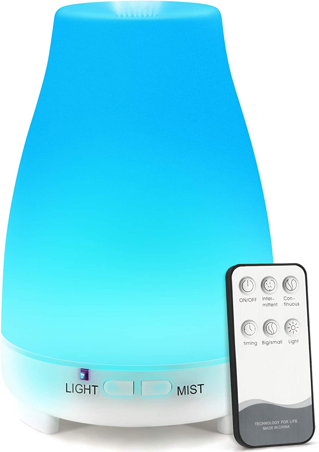 Essential Oil Diffuser, AIMASON 200ML BPA-Free Ultrasonic Air Mist Diffuser Humidifier for Aromatherapy with Adjustable Mist Mode and Waterless Auto Shut-Off for Home, Office, Bedroom, White