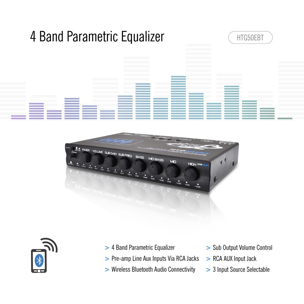 Lanzar HTG50EBT Heritage Series 4-Band EQ Parametric Equalizer with Subwoofer Gain Control and Bluetooth Wireless Audio