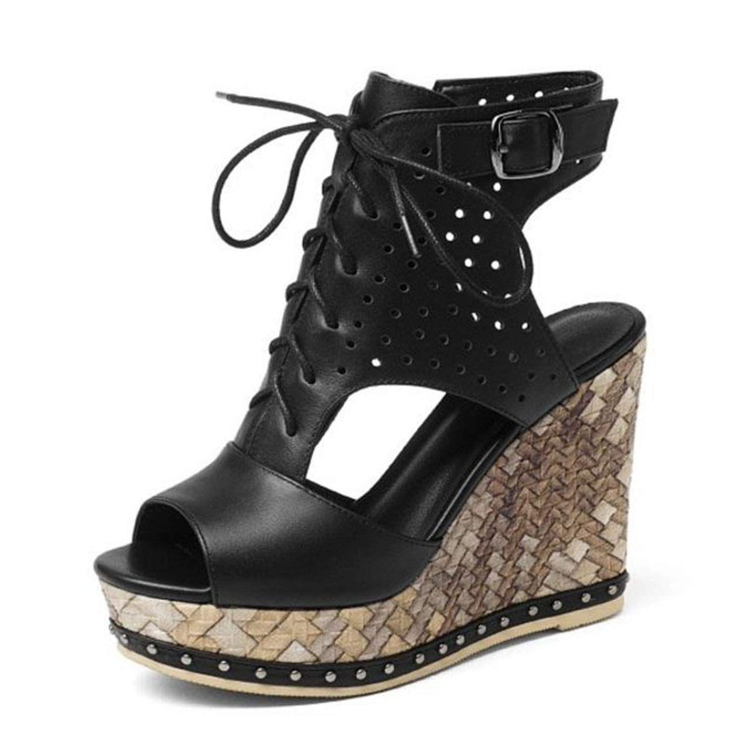 Black Forever Long Women High Heel Sandals Genuine Leather shoes Women Lace Up Zipper Open Toe Sexy Platform shoes