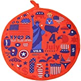 SPAREE Tortilla Warmer 12 Inch Insulated Cloth Pouch - Microwavable Use Fabric Bag to Keep Food Warm for up to One Hour (12 Inch, American Flag Patriotic Eagle Statue Of Liberty)