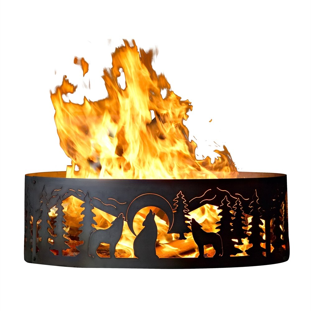 P&D Metal Works Campsite & Backyard Fire Ring w Howling Wolves Design (30 in. Dia. x 10 in. H)