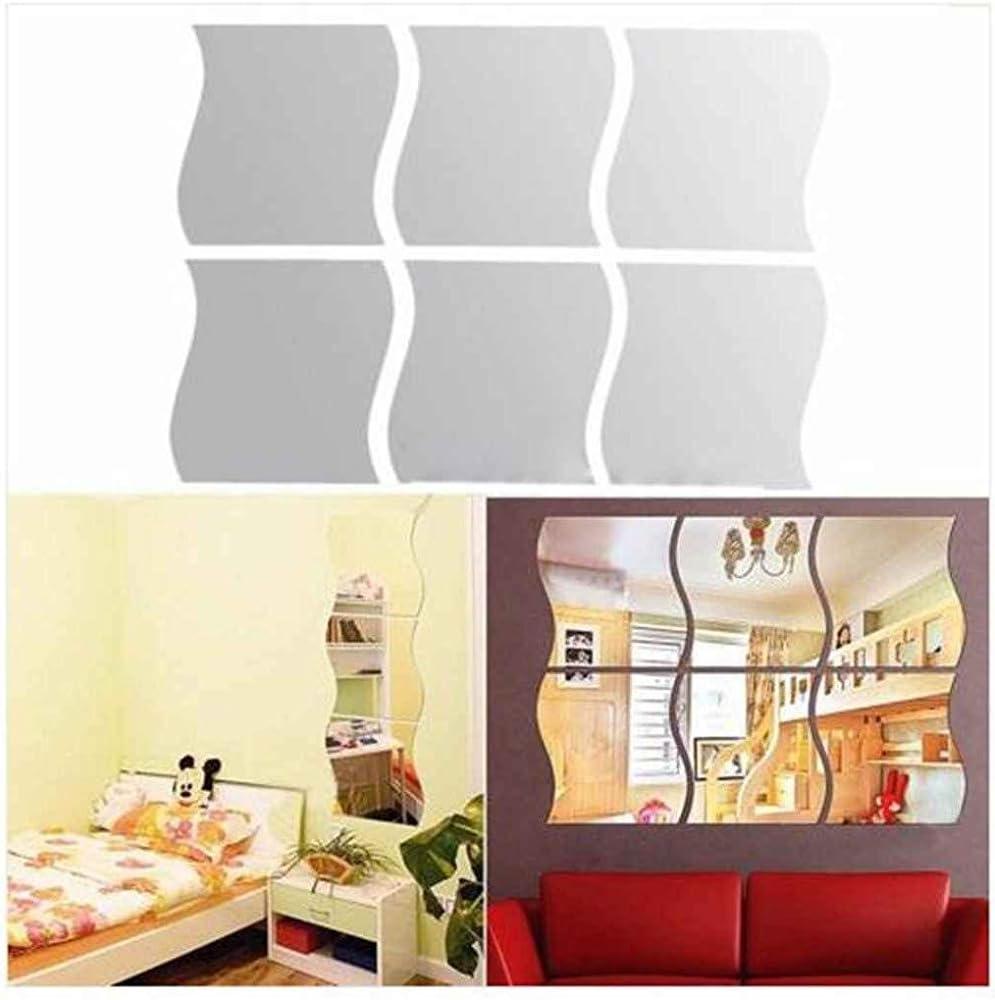 Mur vague st/ér/éoscopiques Miroir autocollant pour Party de No/ël Accueil D/écoration 6Pcs